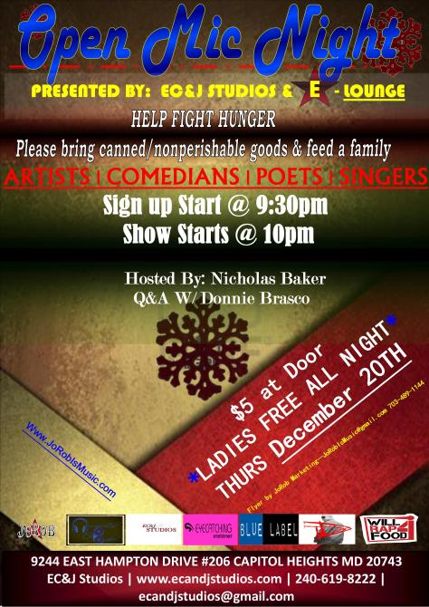 R&B artists JoRob hosting Open Mic Show Case Event to help fight hunger. Please bring canned goods